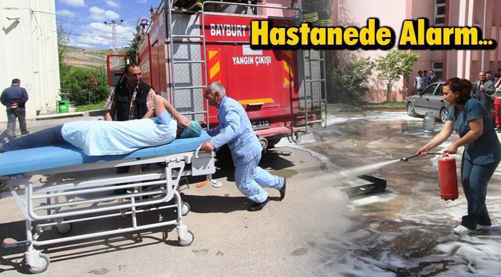 Bayburt Devlet Hastanesinde Yangın Tatbikatı