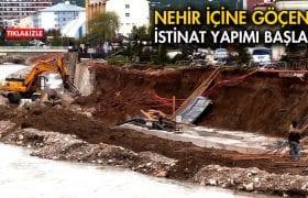 Çoruh Nehrine Göçen İstinat Duvarı Yapımı Başladı