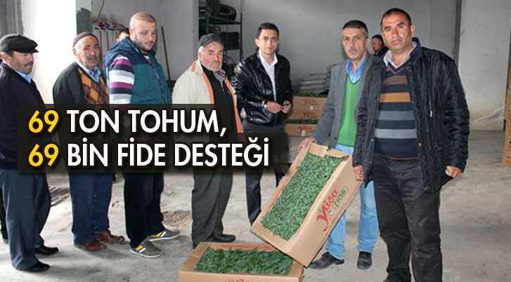 Çiftçilere 69 Ton Tohum, 69 Bin Fide Desteği