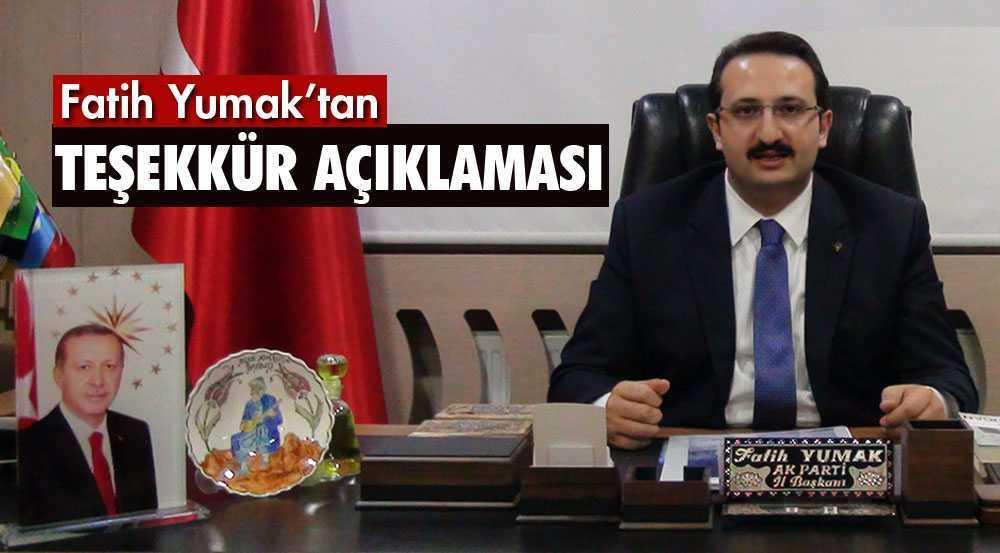 AK Parti Bayburt İl Başkanı Fatih Yumak'tan Teşekkür Açıklaması