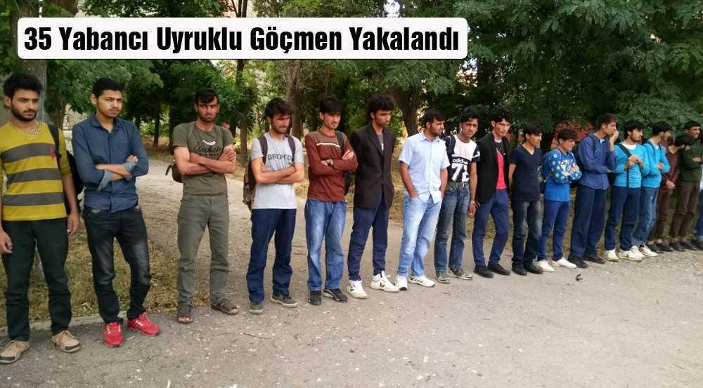 Bayburt'ta 35 Yabancı Uyruklu Göçmen Yakalandı