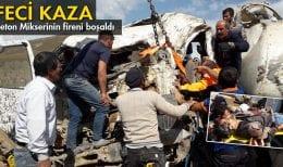 Bayburt'ta Fireni Boşalan Beton Mikseri Kaza Yaptı
