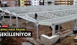 Bayburt'ta Kapalı Halk Pazarı İnşaatı Şekillenmeye Başladı