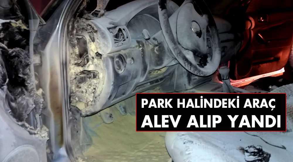 Bayburt'ta Park Halindeyken Yanan Aracı İtfaiye Söndürdü