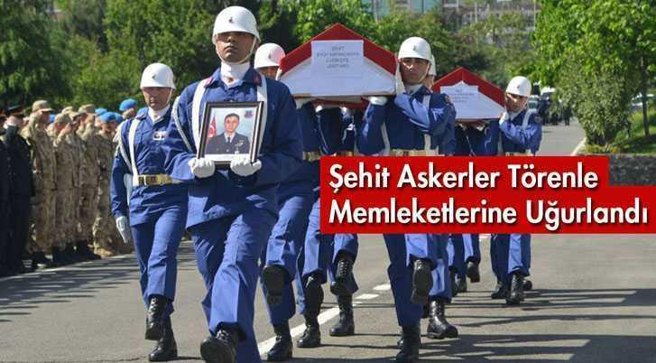 Şehit Askerler Törenle Memleketlerine Uğurlandı