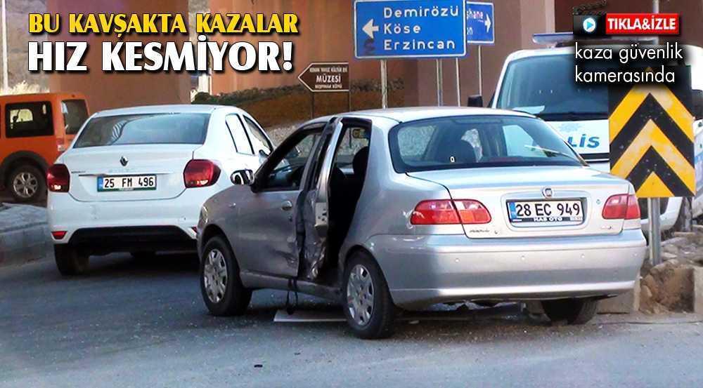 Bayburt'ta Köprülü Kavşakta Trafik Kazası